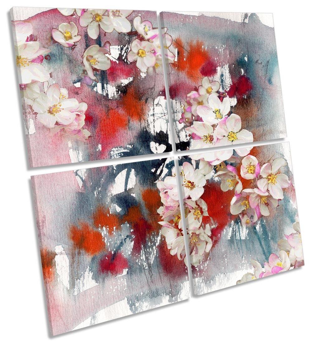 Blossom Bianco Rosso Motivo Floreale Multi a muro opera d'arte art SQUARE