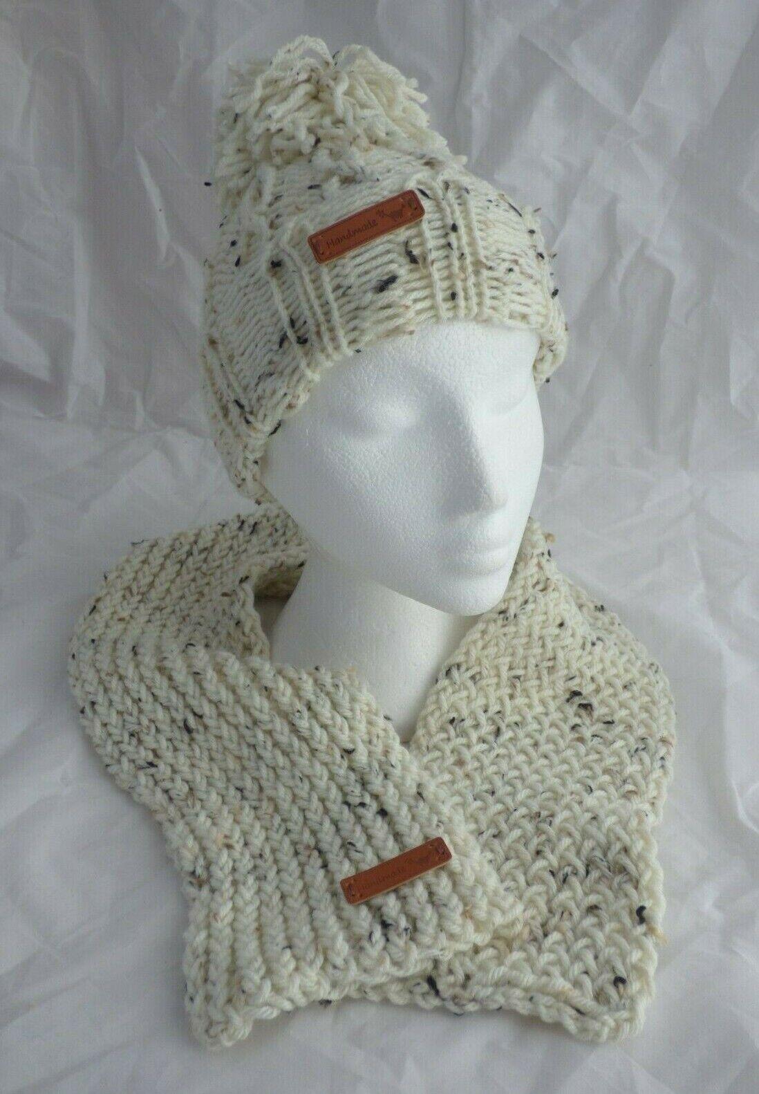 Sandstorm Tweed Cable pompom ski hat & Scarf Set -teen to Adult- hand made- New