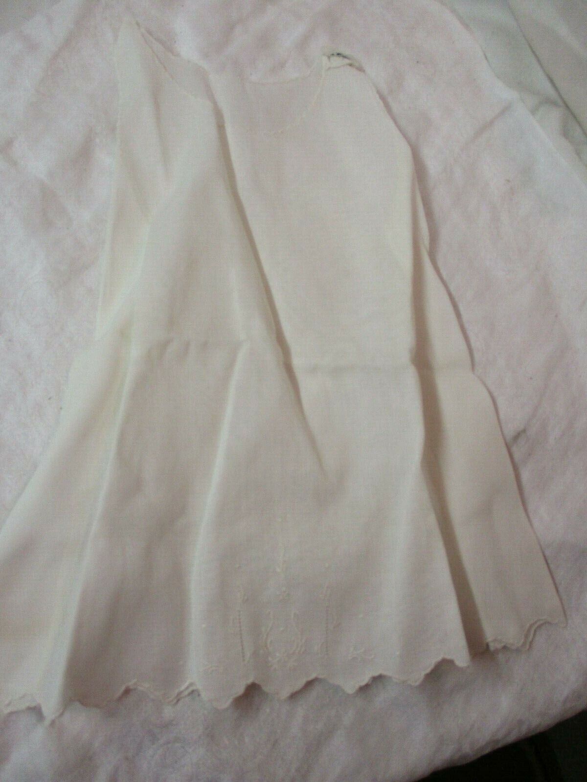 Vtg hand made Philippines Child's ivory color sleeveless Dress embroidery sz 6m