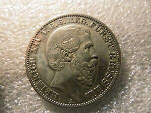 German States 1868-A Reuss Schleiz Silver Thaler Coin 14K Mtd. KM-77     #--44.2