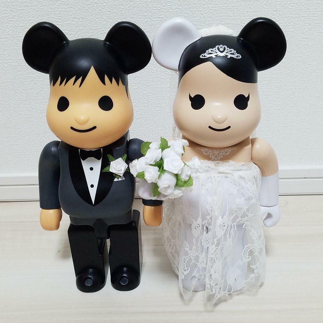 BE@RBRICK 400% MEDICOM TOY PLUS GREETING GREETING MARRIAGE WEDDING PAIR DOLL BEARBRICK
