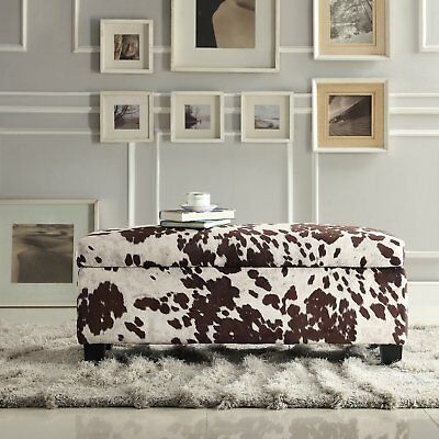 Miraculous Country Cabin Cow Hide Print Storage Bench Rustic Brown Ottoman Stool Lodge New Ebay Machost Co Dining Chair Design Ideas Machostcouk