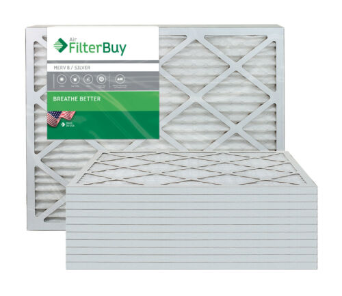 AFB Silver Pleated HVAC AC Furnace Air Filter FilterBuy 14x30x1 MERV 8