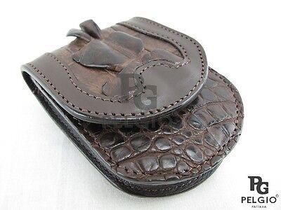 PELGIO Genuine Crocodile Tail Skin Leather Cigarette Holder Case Brown Free Ship