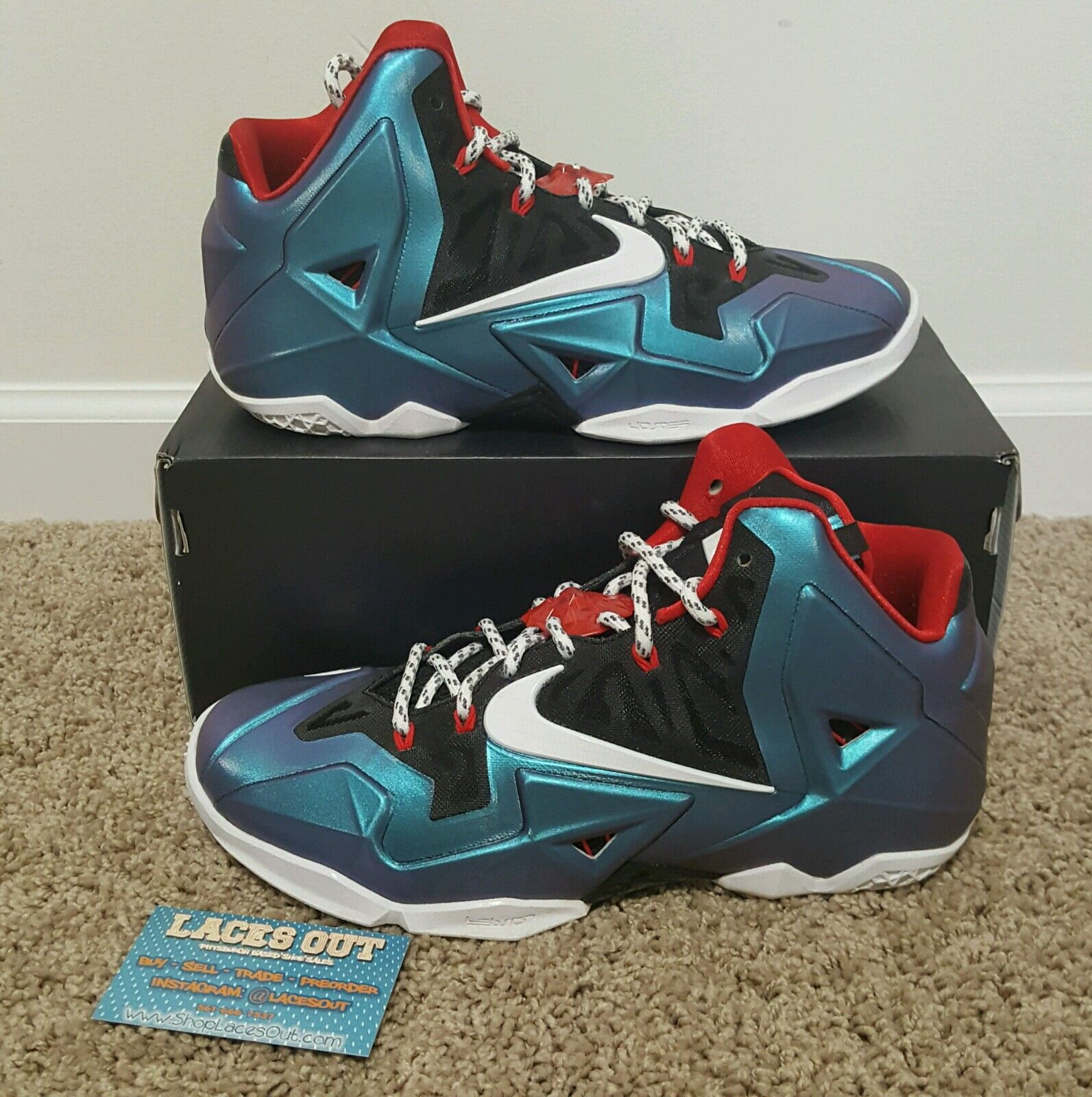 Lebron XI 11 iD Red bluee Purple Metallic size 9 champ pack miami vice preheat
