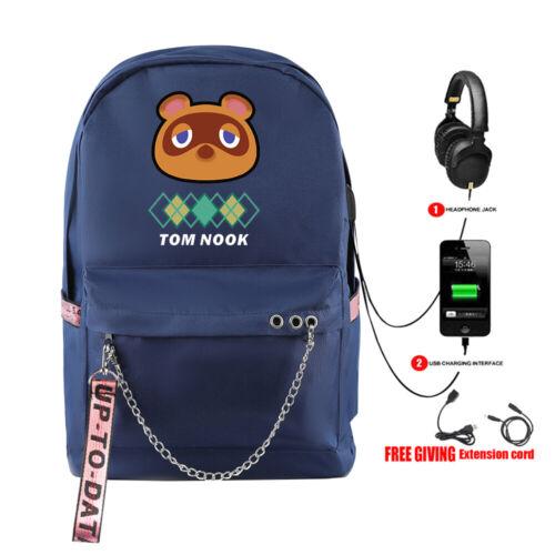 Boy Girl Animal Crossing Tom Nook Backpack Schoolbag Travel Rucksack USB 5Colors