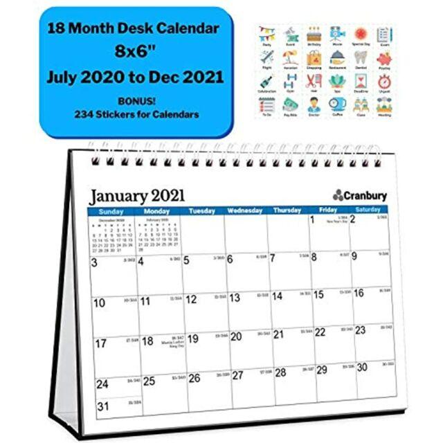 """Small Desk Calendar 2020-2021 (Blue, 8x6""""), Cute Desktop ..."""