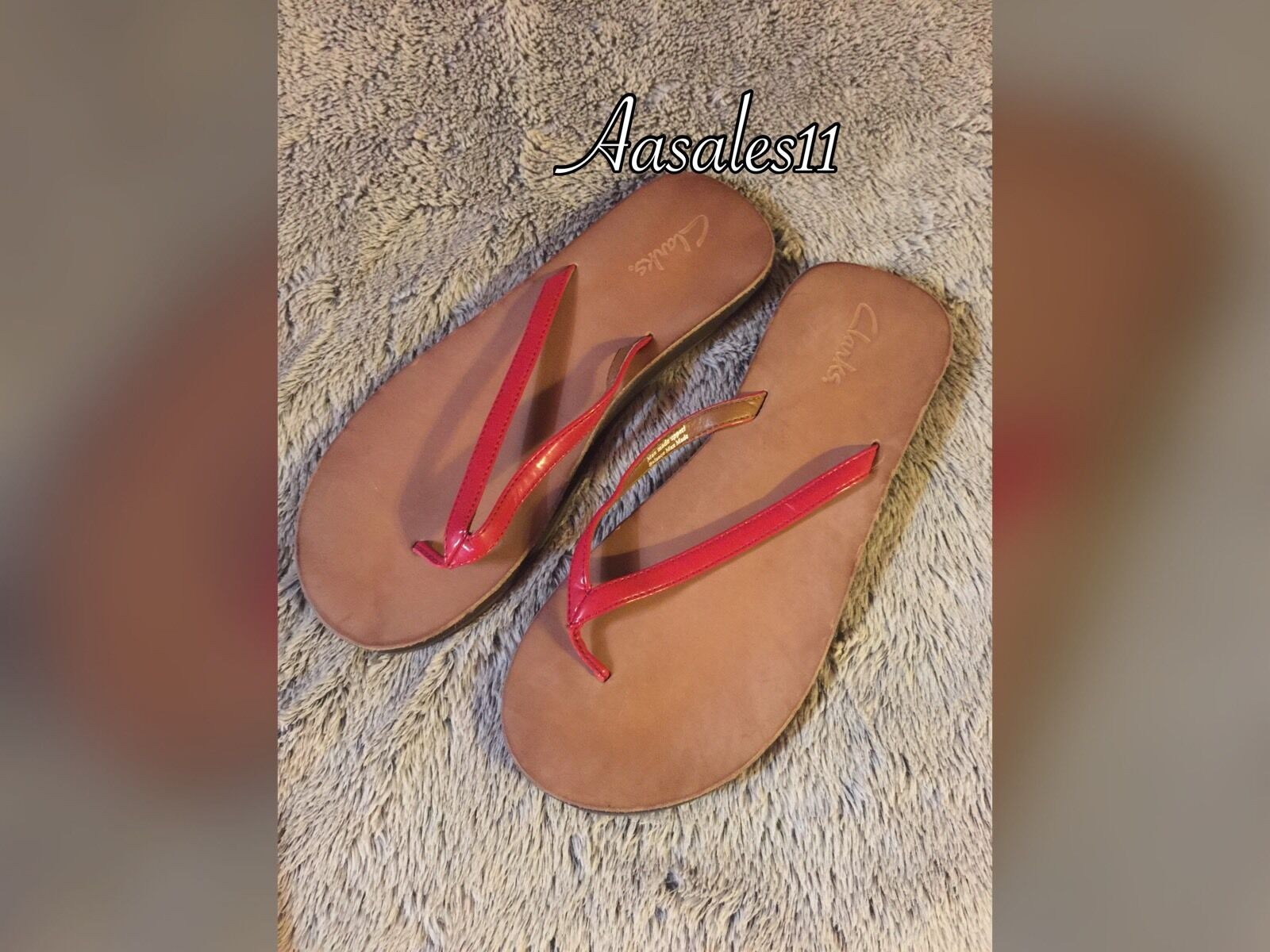 ((1 PAIR )) Clark Spa Sandals RED  SZ 8 SOLD OUT SZ LAST PAIR