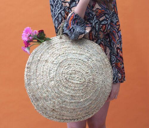 Large Round French Market Beach Palm Basket Tote Shopper Holiday Bag Storage