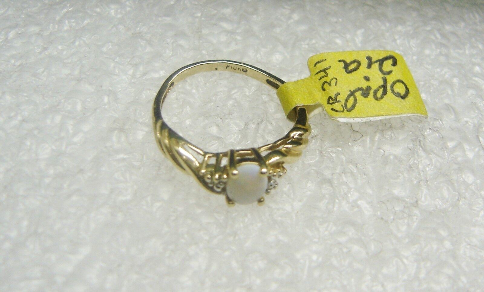 10k oro Giallo Opale e 2 Anello Anello Anello Diamante Taglia 6 1 2 Ottobre Pietra Zodiacale 3cc32e
