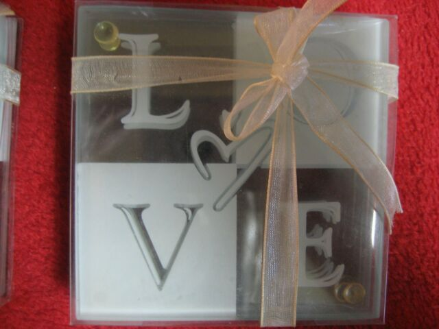 """4 Glass Kitchen Dining and Bar Coaster Set Beautiful Pieces """"Love"""" Glass Coaster"""