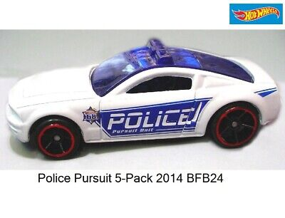 2014 POLICE PURSUIT Exclusive MUSTANG GT CONCEPT☆White//Blue☆LOOSE☆Hot Wheels