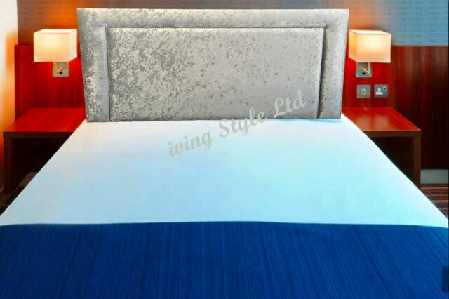 Studded Top Quality Stylish Chenille Fabric Headboard In 24 Inches