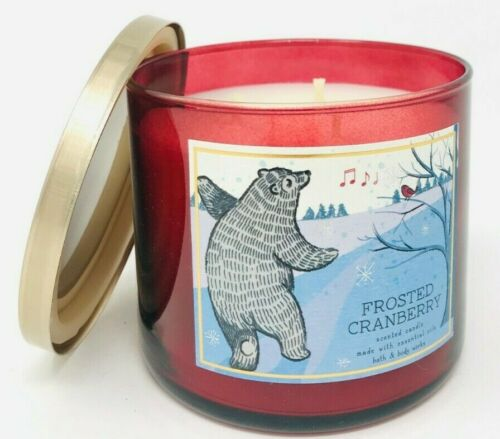 BATH /& BODY WORKS FROSTED CRANBERRY SCENTED 3-WICK 14.5 OZ LARGE FILLED CANDLE