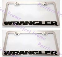 2x Jeep Wrangler Stainless Steel License Plate Frame Rust Free W/ Boltcap
