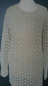 Pullover-handgestrickt-S-Baumwolle