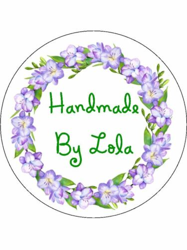 Personalised Stickers Handmade by Labels Various Sizes any nom Wreath h28