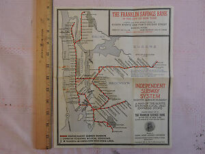 City Subway Map.Details About Rare 1937 New York City Subway Map Nyc Ind Ind 1933 Brooklyn Manhattan
