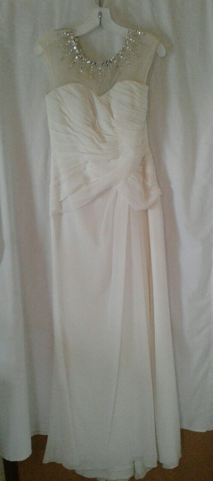 NWOT DAVID'S BRIDAL Creamy White Folded Ruched WEDDING DRESS sz 6