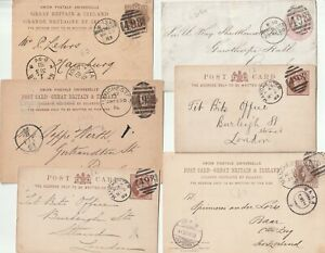 1880-90-5-POSTAL-STATIONERY-CARDS-amp-1d-PINK-COVER-MANCHESTER-DUPLEX-POSTMARKS