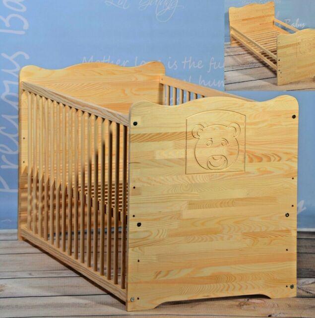 Babybett Kinderbett Gitterbett Jugendbett 2 In 1 Umbaubar Matratze 70x140cm Top