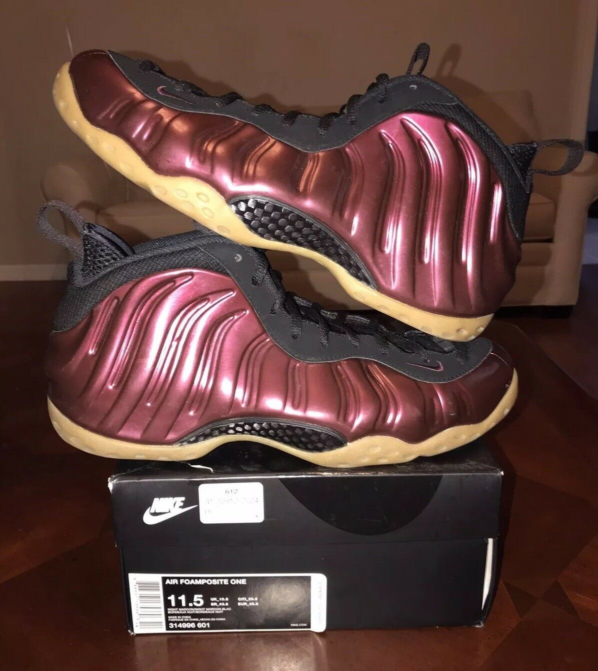 Nike Air Foamposite One Night Maroon Red Men's 11.5 Gum Black Wine Light Brown 1