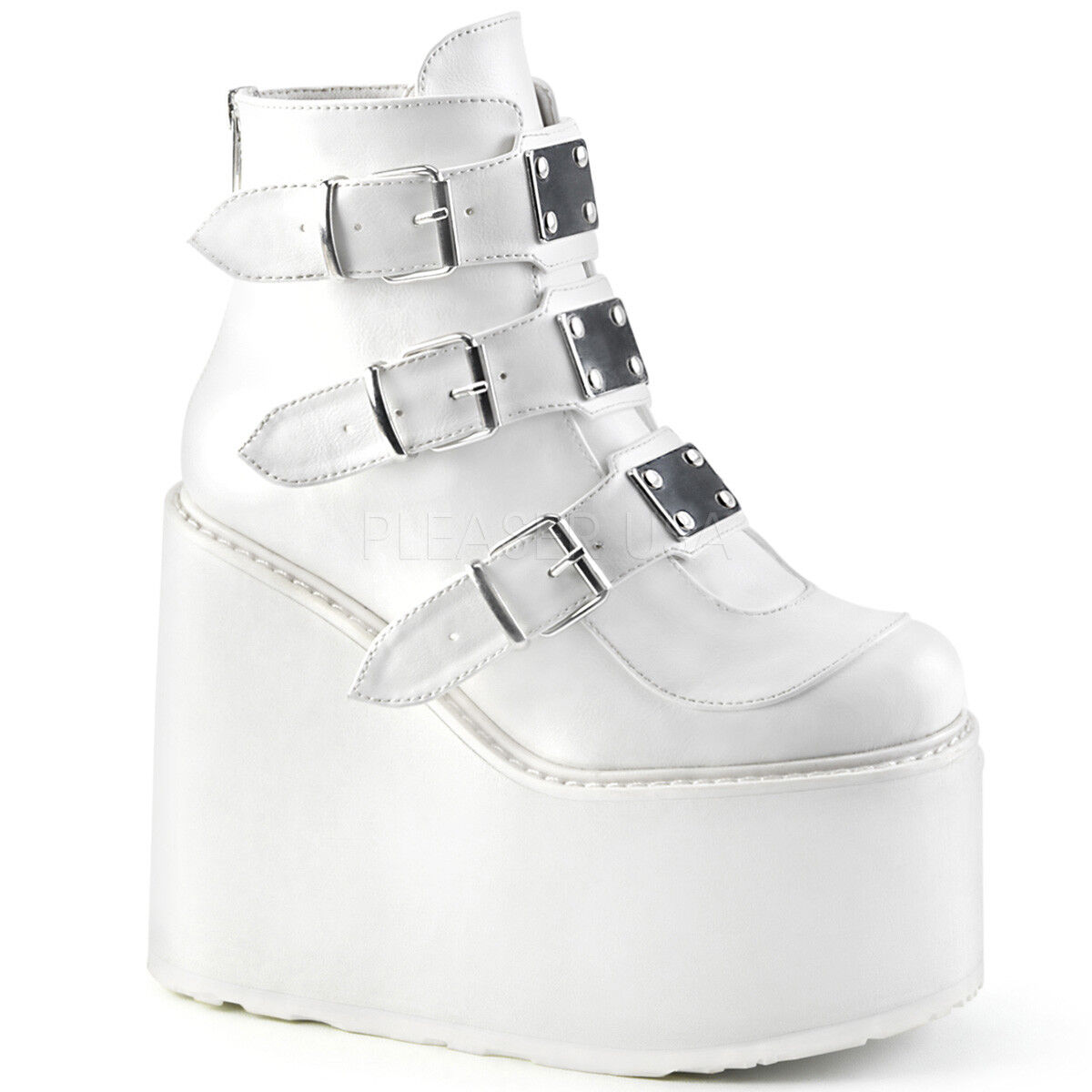 Demonia SWING-105 Women's White Vegan Leather Wedge Platform 3 Buckle Ankle Boot