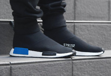 mens adidas nmd cs1 pk nomad city sock primeknit nero, bianco e blu