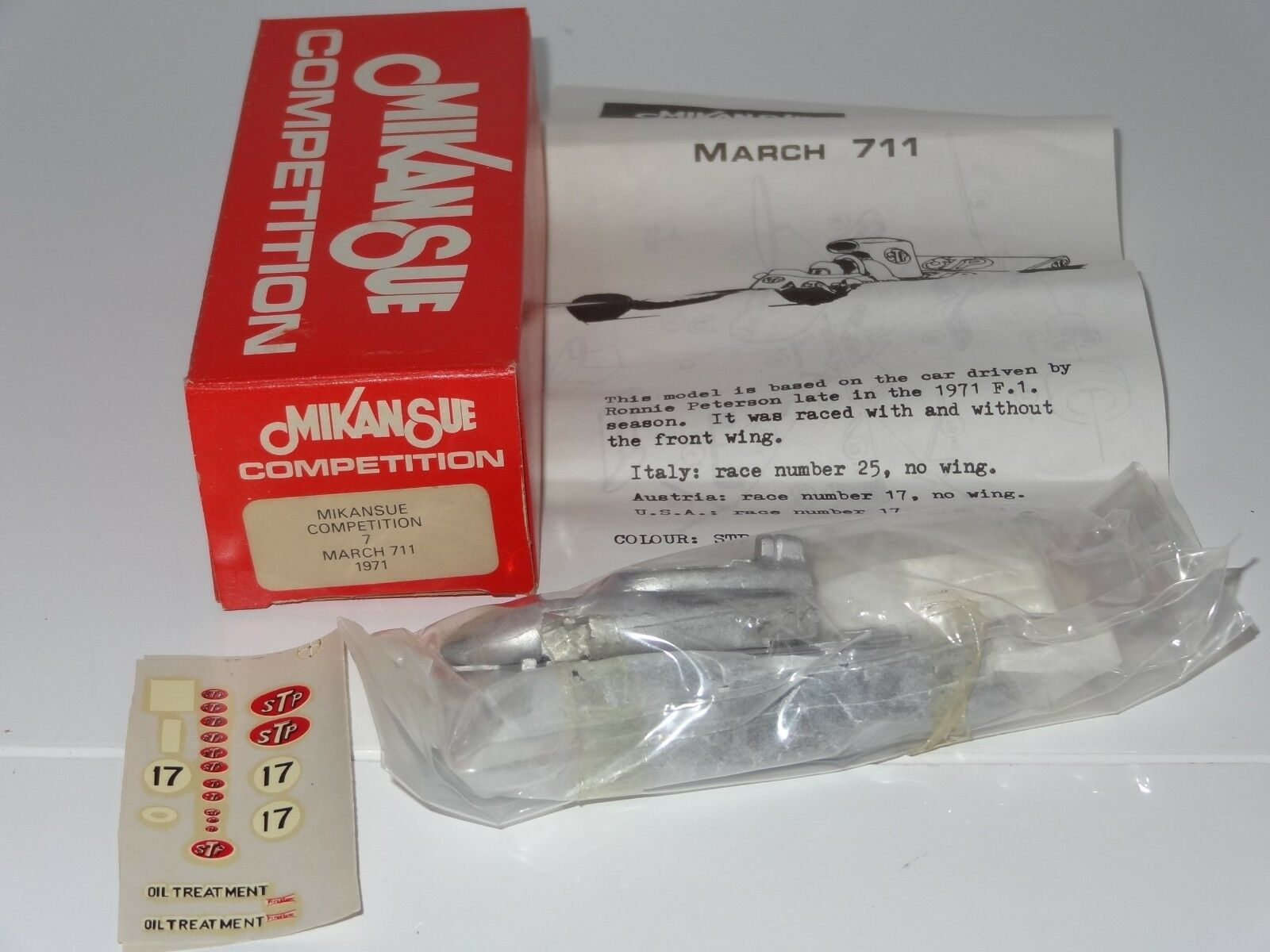 (B) MIKANSUE 1971 MARCH 711 RACING CAR - 7 mint still sealed in bag