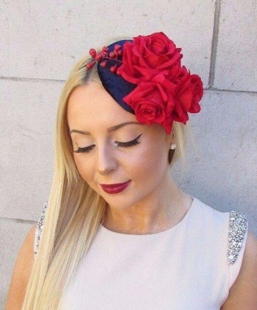 Navy Blue Red Velvet Rose Berry Flower Fascinator Hat Vtg Races Ascot 1950s  2467 b4a2179e8aa