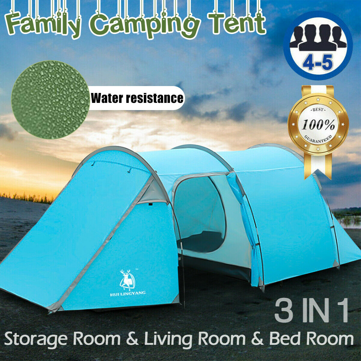 4-5 Person Family Camping  Tent Tunnel Dome Waterproof Outdoor Travel Hiking Tent  no minimum