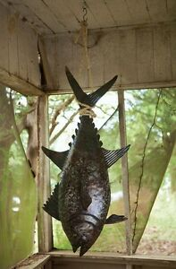Handcrafted-Hanging-Tuna-Fish-Coastal-Nautical-Fishing-Halabut-Recycled-Metal