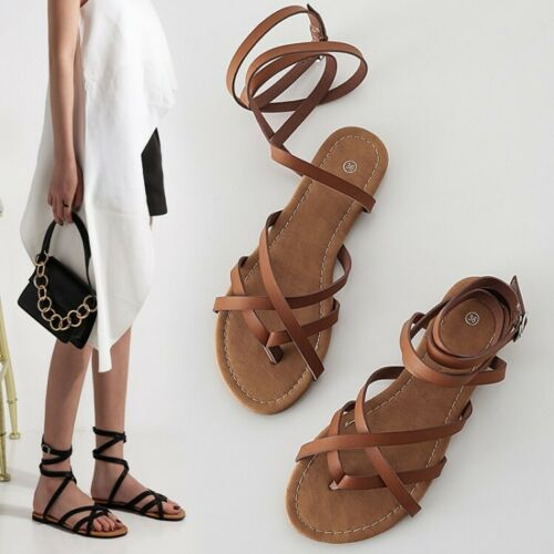 Details about  /Womens Ladies Fashion Thong Ankle Wrap Flat Beach Sandals Gladiator Shoes KAIK