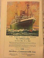ABERDEEN & COMMONWEALTH LINE AD SHIP LINER  Vintage Advertising 1935 Original Ad