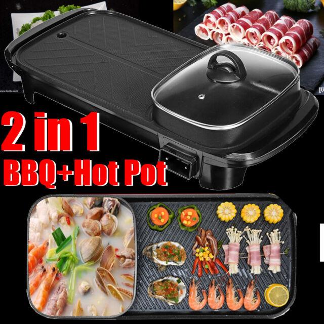 Nonstick /& Portable Hot Pot //Outdoor BBQ Steel Smokeless Electric Indoor Grill