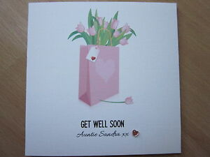 Details About Personalised Handmade Female Get Well Card Mum Nanny Grandma Auntie Sister
