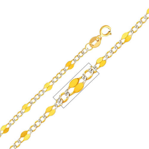 """14K Real Yellow 2 Two Tone Gold 3.2mm Stamped Figaro White Pave Chain 16/"""" Baby"""