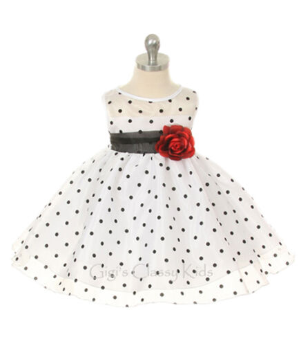 New Baby Infant Girls Mint Polka Dot Dress Pageant Wedding Christmas Party 247