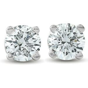 1-4ct-Diamond-Stud-Earrings-Solid-14K-White-Gold