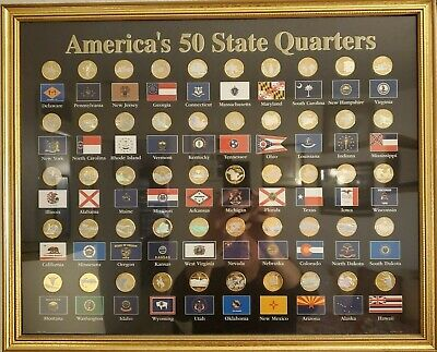 WOOD FRAME DISPLAY CASE WITH 50 U.S.A STATEHOOD UNCIRCULATED QUARTER COLLECTION