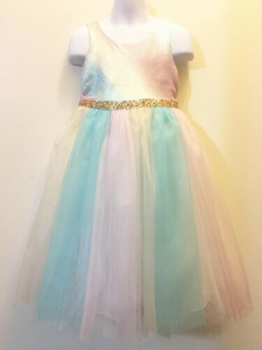 Bonnie Jean Metalic Ombre Panel Mesh Pageant Party Picture Flower Girls Dress