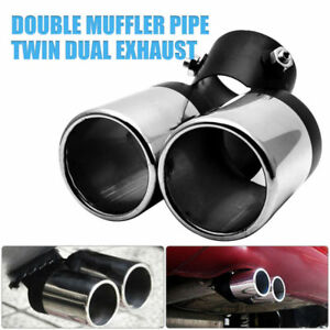 UNIVERSAL-ENAMEL-TWIN-DOUBLE-EXHAUST-PIPE-TRIM-TIP-TAIL-MUFFLER-STAINLESS-60MM