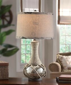 Attractive Image Is Loading Nautical Coastal Rope Amp Mercury Glass Table Lamp