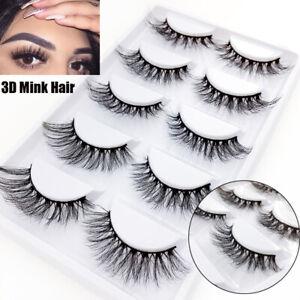 3834e620f76 SKONHED 5 Pairs 3D Mink Hair False Eyelashes Wispy Fluffy Long ...