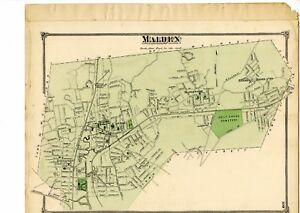 1875 Map of Malden Mass from Beers Atlas of Middlesex County w