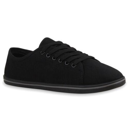 Damen Sneakers Freizeit Schuhe Schnürer Stoffschuhe 75551 Trendy