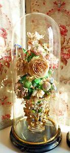 Brillant Ancien Globe De MariÉe Et Son Bouquet De Fleurs En Soie NapolÉon Iii