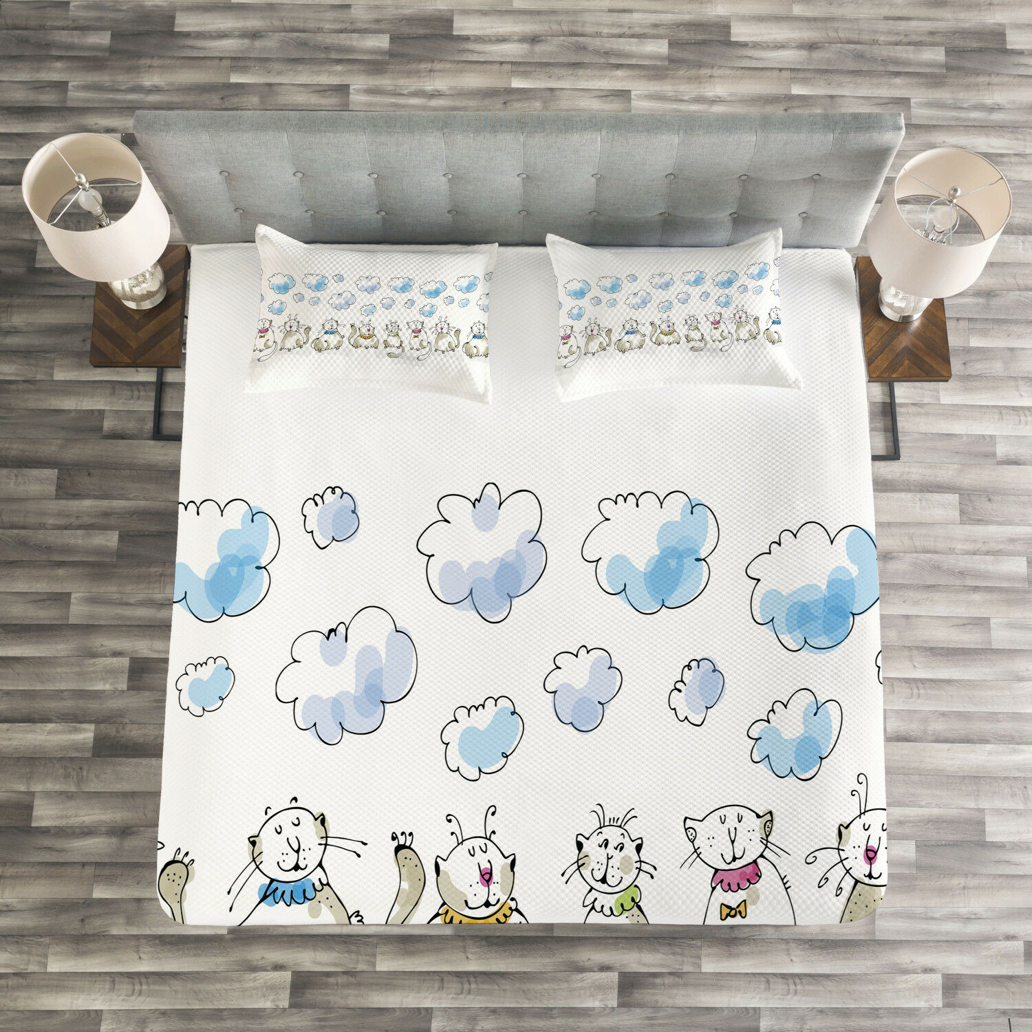 Baby Quilted Bedspread & Pillow Shams Set, Cats Sitting with Collars Print