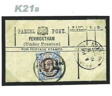 GB KEVII 9d RAILWAY PARCEL POST LABEL *Preston Station* Rubber 1903 Lancs K21b