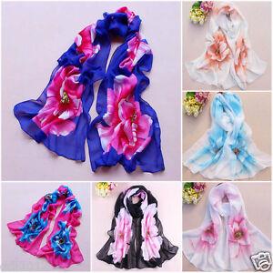 New-Women-039-s-Long-Soft-Wrap-Lady-Shawl-Silk-Flower-Print-Chiffon-Scarf-Stole